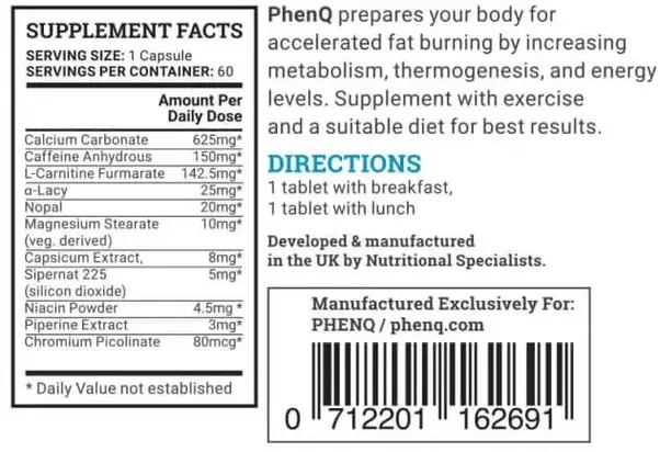 PhenQ Ingredients Chart