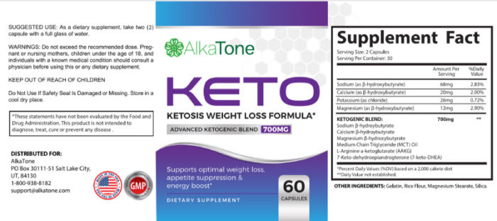 Alkatone Keto Ingredient Label